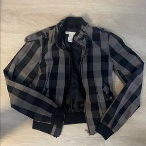 Charlotte Russe plaid jacket black and grey size S